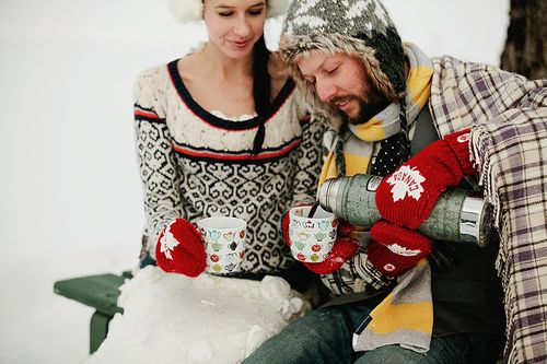 Snowy Wreck the Dress Session Featuring Woolen Mittens and Fur Hats