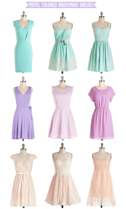 Pastel Colored Bridesmaid Dresses from ModCloth