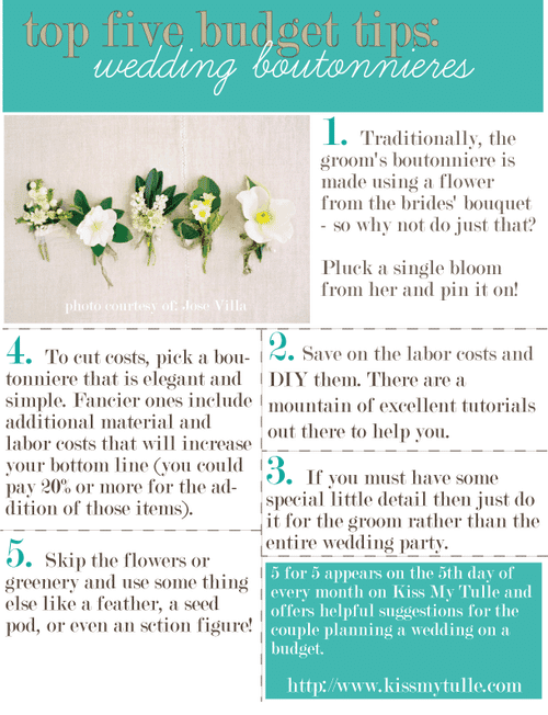 5 for 5: Top Five Budget Tips for the Boutonnieres
