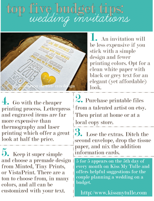 5 for 5: Top Five Budget Tips for the Wedding Invitations
