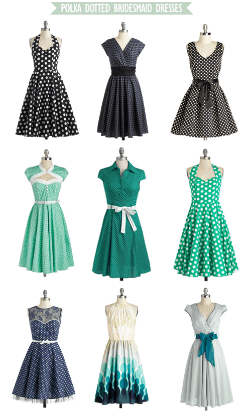 Polka Dotted Bridesmaid Dresses from ModCloth