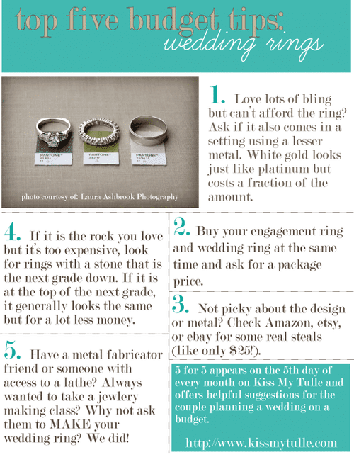5 for 5: Top Five Budget Tips for the Wedding Rings