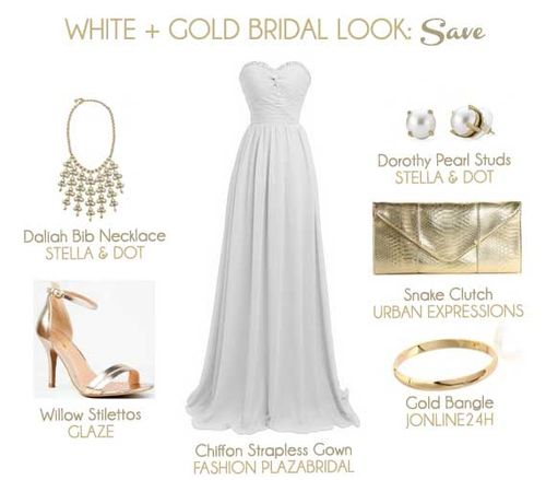 White and Gold Bridal Look: Save