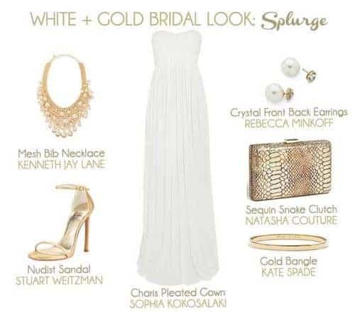 White and Gold Bridal Look: Splurge
