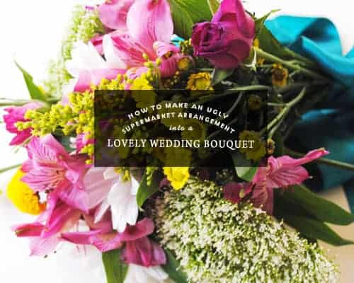 Fear not budget brides and grooms, I'm here to show you how to make an ugly supermarket arrangement into a lovely wedding bouquet!