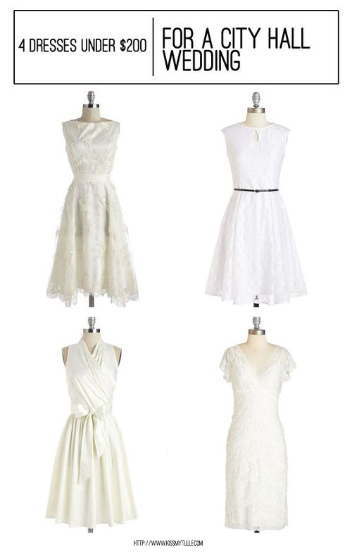 4 Dresses Under $200 Perfect for a City Hall Wedding || Kiss My Tulle