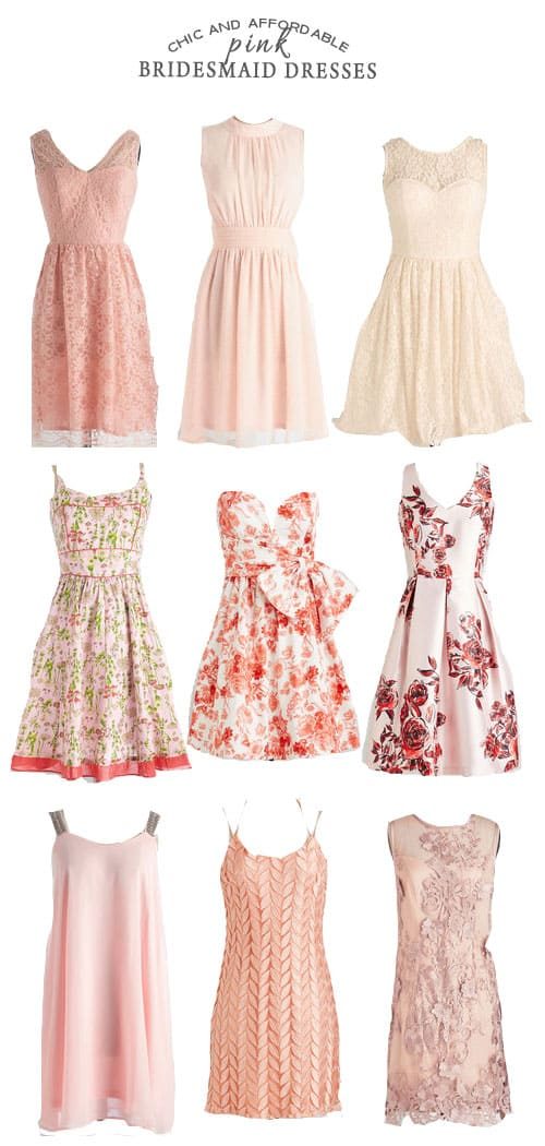 Chic and Affordable Pink Bridesmaid Dresses