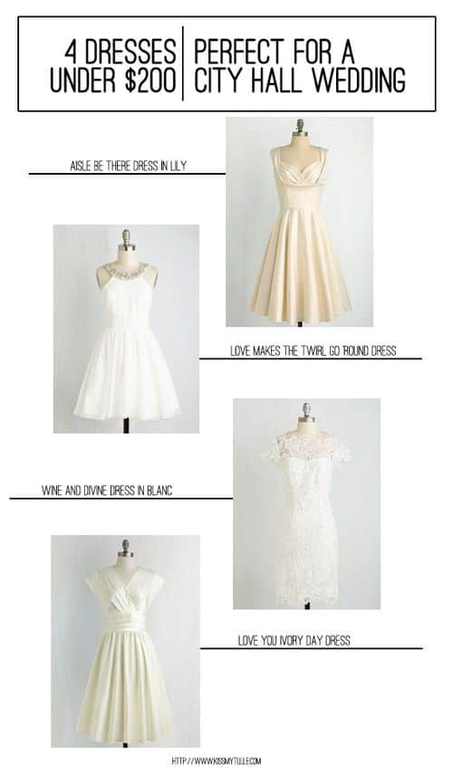 4 Dresses Under $200 Perfect for a City Hall Wedding