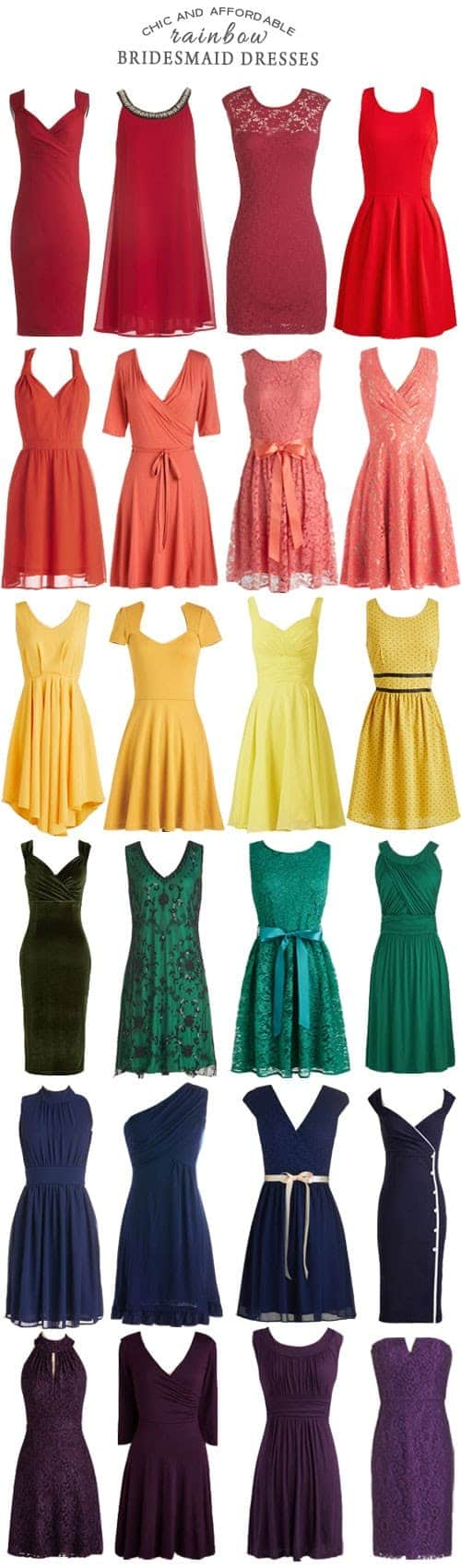 A Rainbow of Affordable Bridesmaid Dresses || Kiss My Tulle