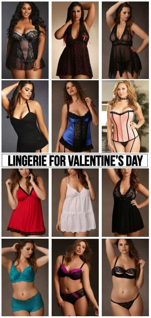 Here's some great and affordable lingerie for Valentine's-Day (most are in plus-sizes, too!)