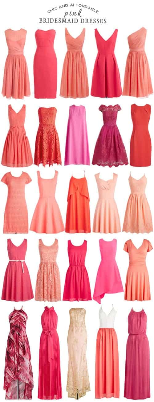 A Selection of Chic and Affordable Pink Bridesmaid Dresses #wedding #bridesmaids #bridesmaiddresses