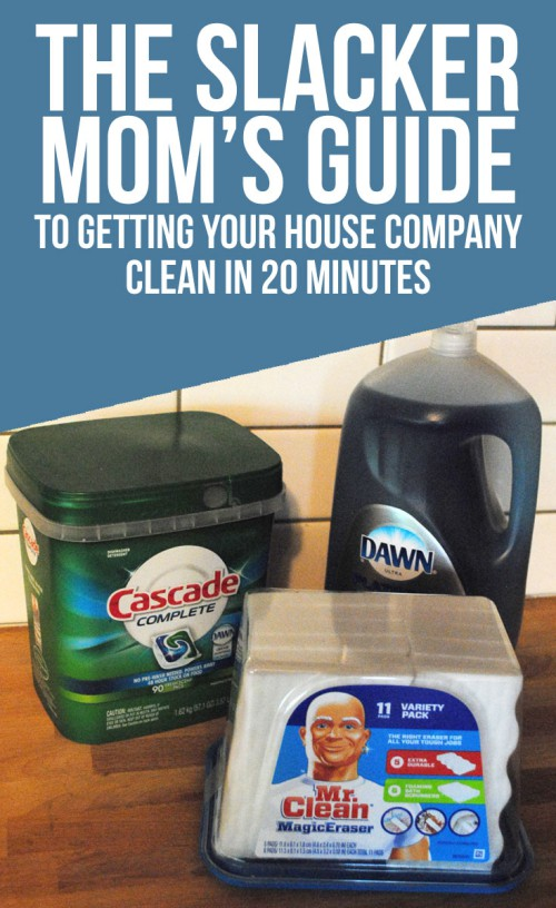 "With the help of Costco, Mr. Clean Magic Erasers, Dawn Platinum Advanced Power, and Cascade Complete Action Pacs, I've perfected what I like to call, ""The Slacker Mom's Guide To Getting Your House Company Clean in 20 Minutes"" #PGDetailsMatter #IC #ad"