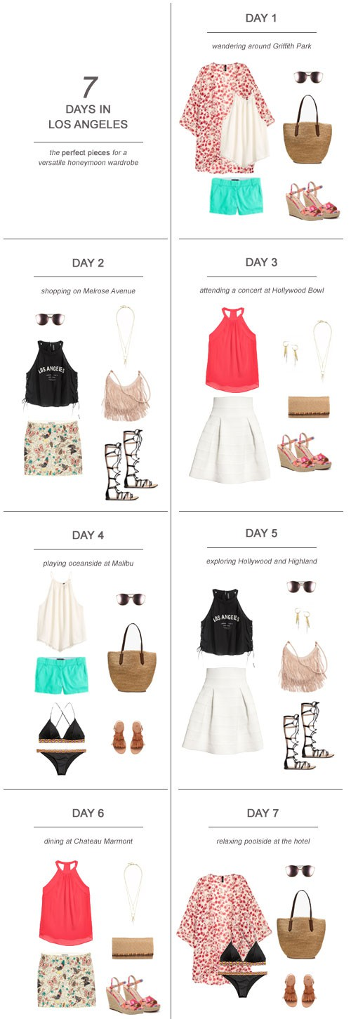 7 Days in Los Angeles : The Perfect Pieces for a Versatile Honeymoon Wardrobe #travel #fashion #ootd #honeymoon #bride