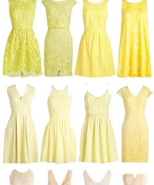 A Selection of Chic and Affordable Yellow Bridesmaid Dresses