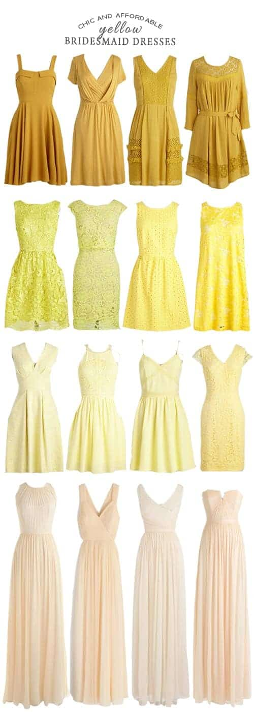A Rainbow of Affordable Yellow Bridesmaid Dresses #wedding #ceremony #bridesmaids #reception