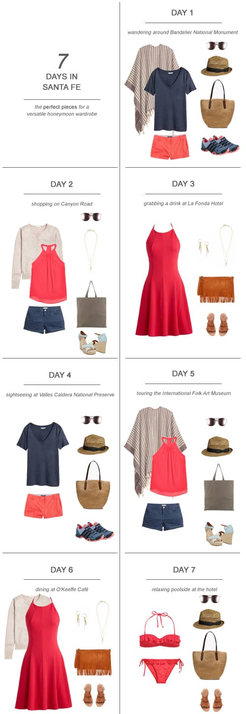 7 Days in Santa Fe The Perfect Pieces for a Versatile Honeymoon Wardrobe #honeymoon #travel #newmexico #packing #capsulewardrobe