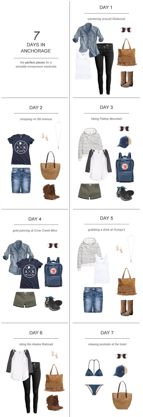 7 Days in Anchorage : The Perfect Pieces for a Versatile Honeymoon Wardrobe #travel #packing #capsulewardrobe #Alaska #honeymoon #newlywed #fashion