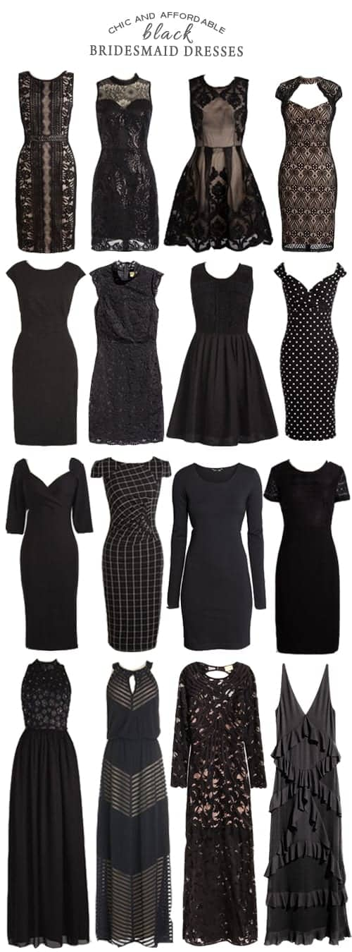 A Selection of Chic and Affordable Black Bridesmaid Dresses