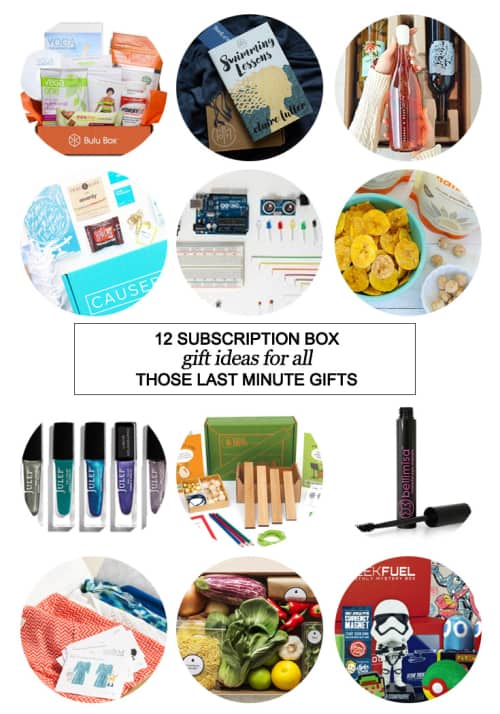 12 Subscription Box Gift Ideas For All Those Last Minute Gifts #BuluBox #BookSpan #Winc #Causebox #CreationCrate #NatureBox #Julep #StitchFix #JuniorExplorers #Bellimisa #BlueApron #GeekFuel #KiwiCrate