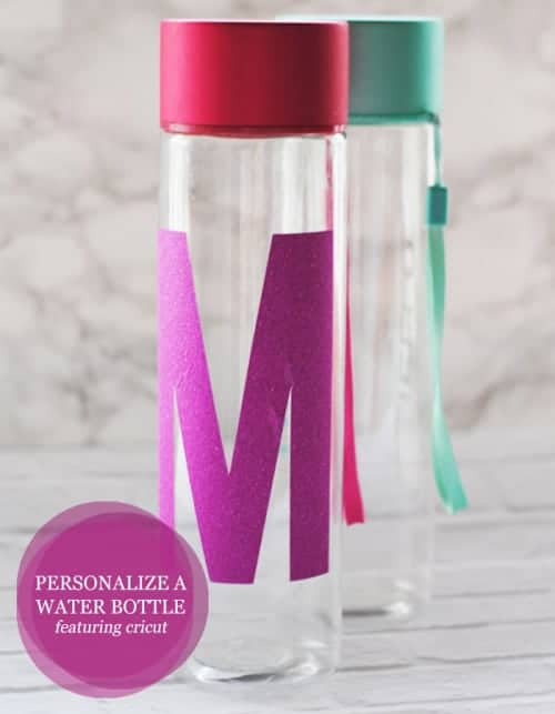 Personalize Your Refillable Water Bottle With Your Initial And Your Cricut Explore Air #Cricut #DIY #vinyl