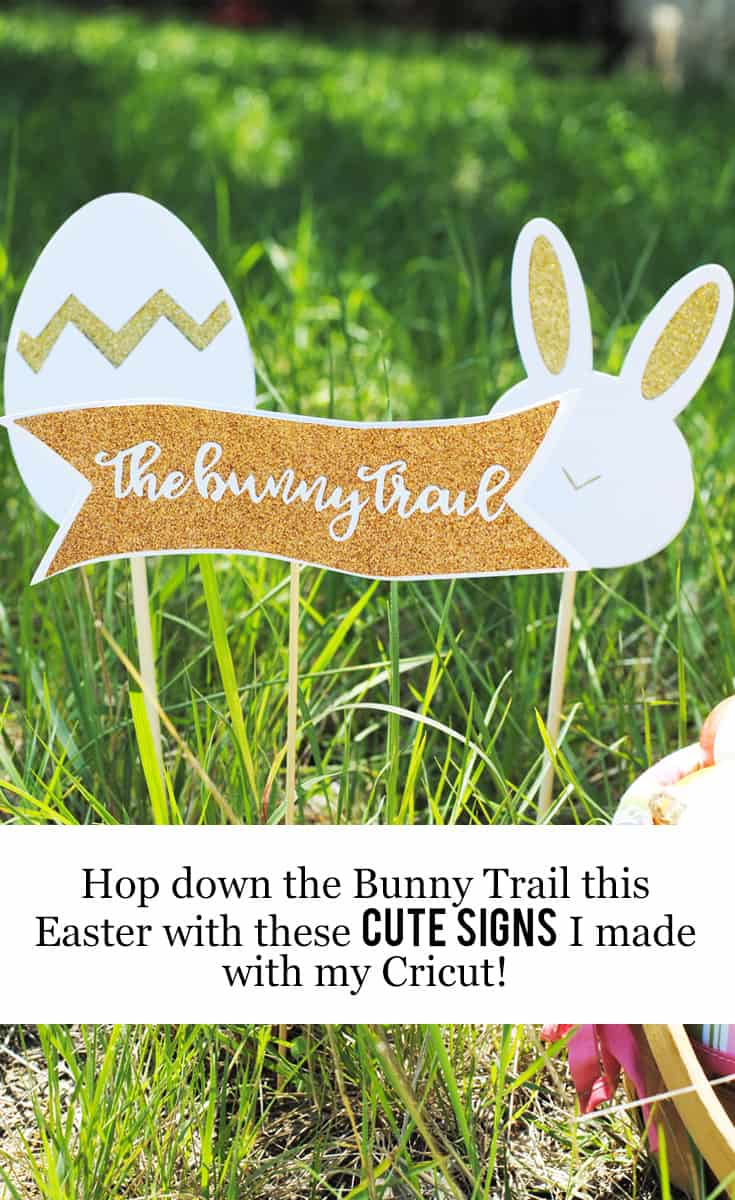 Click through to find out how to hop down the bunny trail this Easter with these cute signs Alaskan lifestyle blogger, Kiss My Tulle, DIYed with her @OfficialCricut #Cricut