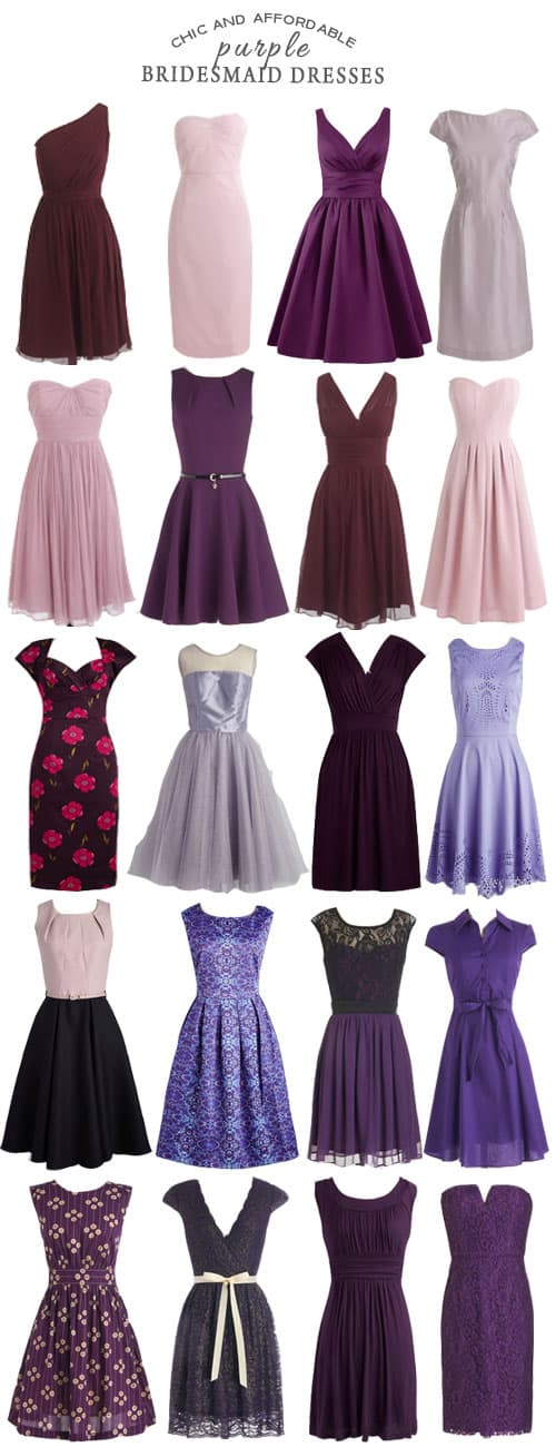 A Selection of Chic and Affordable Purple Bridesmaid Dresses #bridesmaid #bridesmaiddresses #purple #wedding