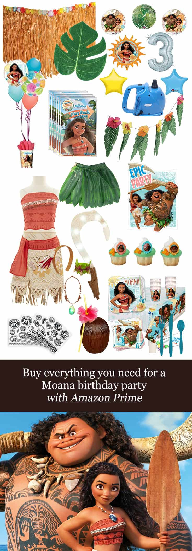 Texas Mom Blogger, Kiss My Tulle, shares how you can buy everything you need for a #Moana #birthday #party with #AmazonPrime!