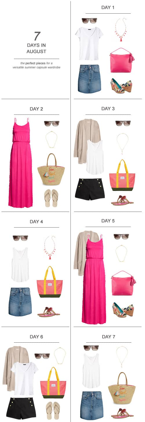 7 Days in August The Perfect Pieces for a Versatile Summer Wardrobe #ootd #capsulewardrobe #summer #momlife #wahm #sahm