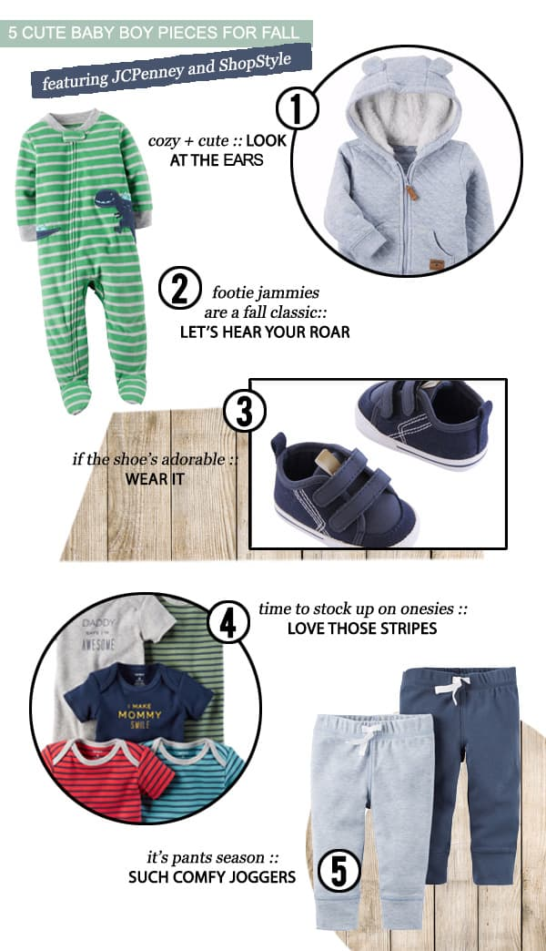 San Antonio lifestyle blogger, Cris Stone, shares the 5 cute baby boy pieces she found at JCPenney's for fall. Find out more!
