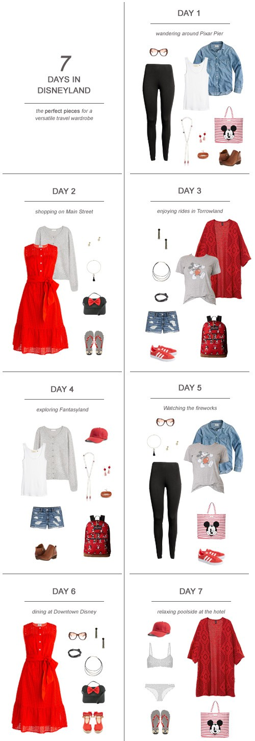 7 Days in Disneyland : The Perfect Pieces for a Versatile Travel Wardrobe #Disney #DSMMC #travel #Disneyland #ootd #capsulewardrobe #packinglist