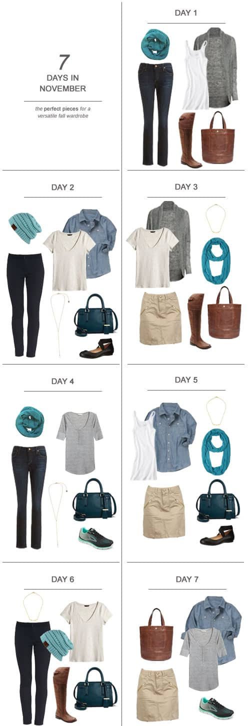 7 Days in November : The Perfect Pieces for a Versatile Fall Wardrobe #ootd #November #holidays #capsulewardrobe #sahm