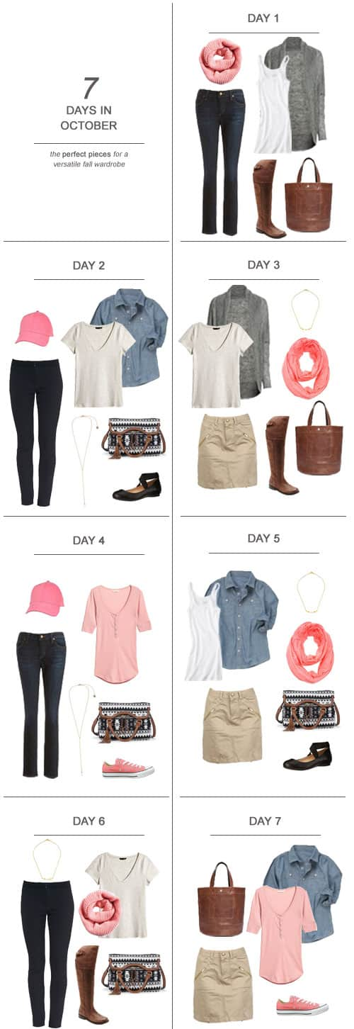 7 Days in October : The Perfect Pieces for a Versatile Fall Wardrobe #ootd #October #holidays #capsulewardrobe #sahm