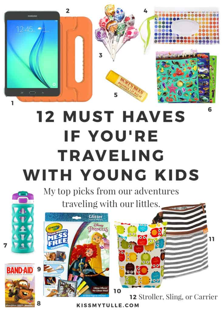 Texas Mom Blogger, Kiss My Tulle, loves to travel with her kids so she has a Go Bag with her most used items already packed. Learn more about her 12 must haves if you're #traveling with young #kids! #travel #flying #familytravel #tmom #flyingwithkids