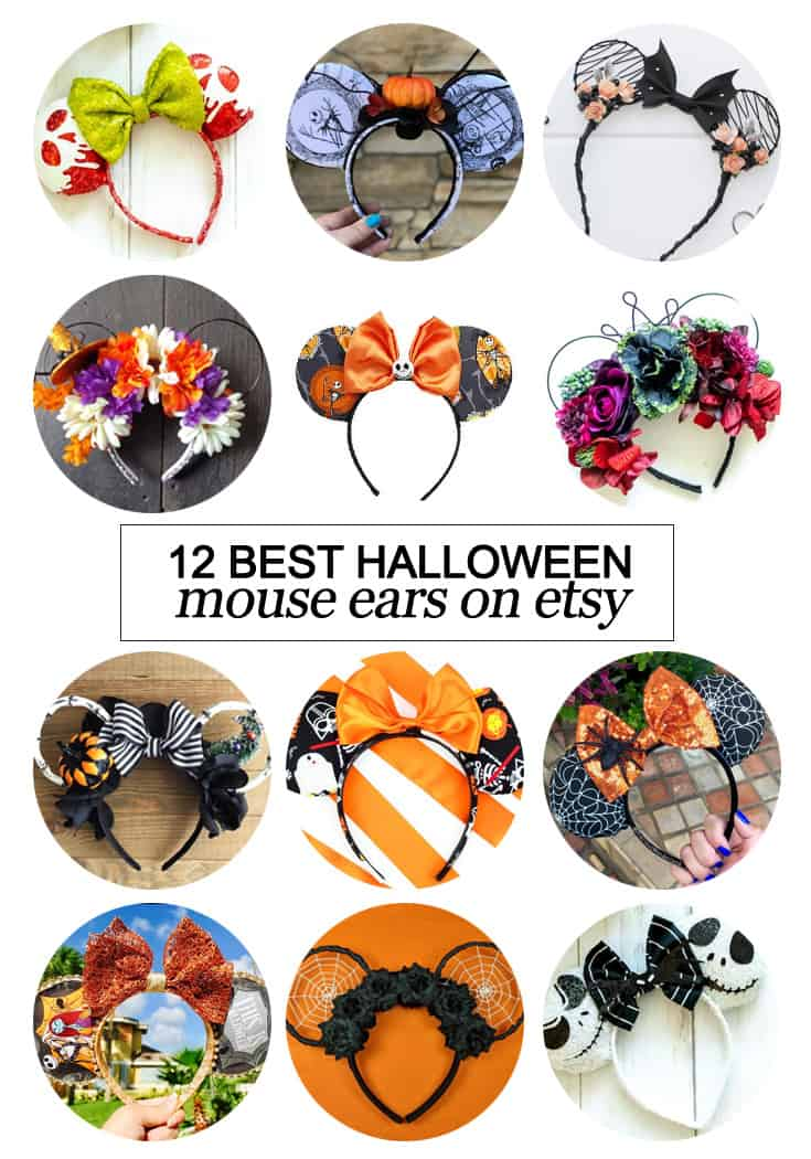 Want to snag some of your own custom ears? Here's the 12 best #Halloween inspired Mouse ears on #etsy! #fashion #Disney #dsmmc #tmom #Disneyland #WaltDisneyWorld #Mouseears #handmade