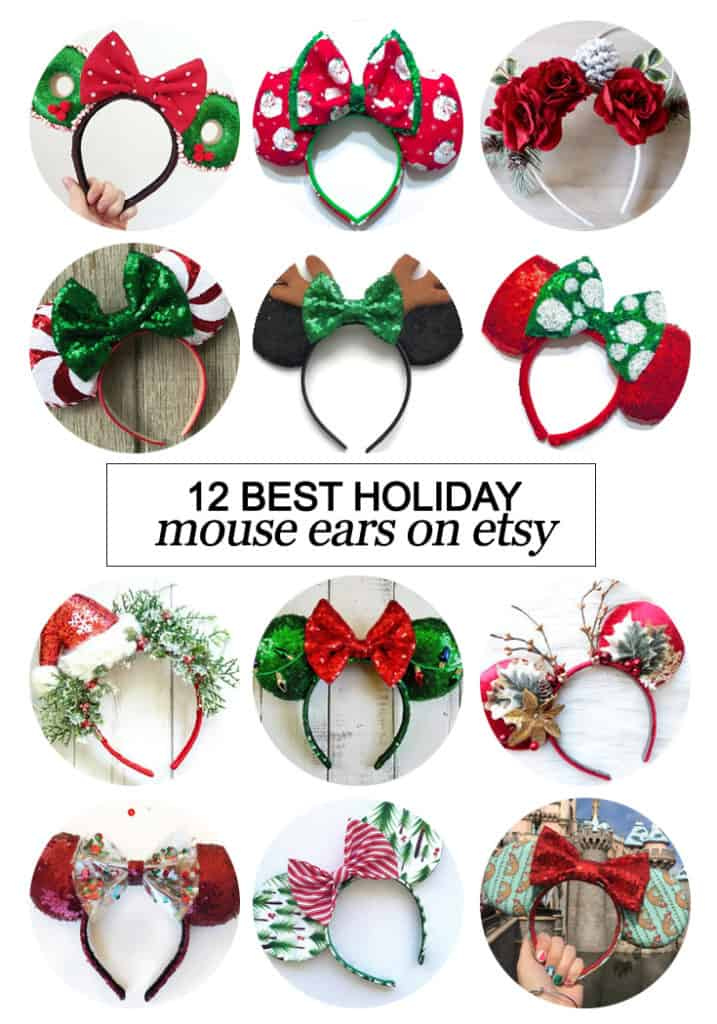 Want to snag some of your own custom ears? Here's the 12 best #holiday inspired Mouse ears on #etsy! #fashion #Disney #dsmmc #tmom #Disneyland #WaltDisneyWorld #Mouseears #handmade
