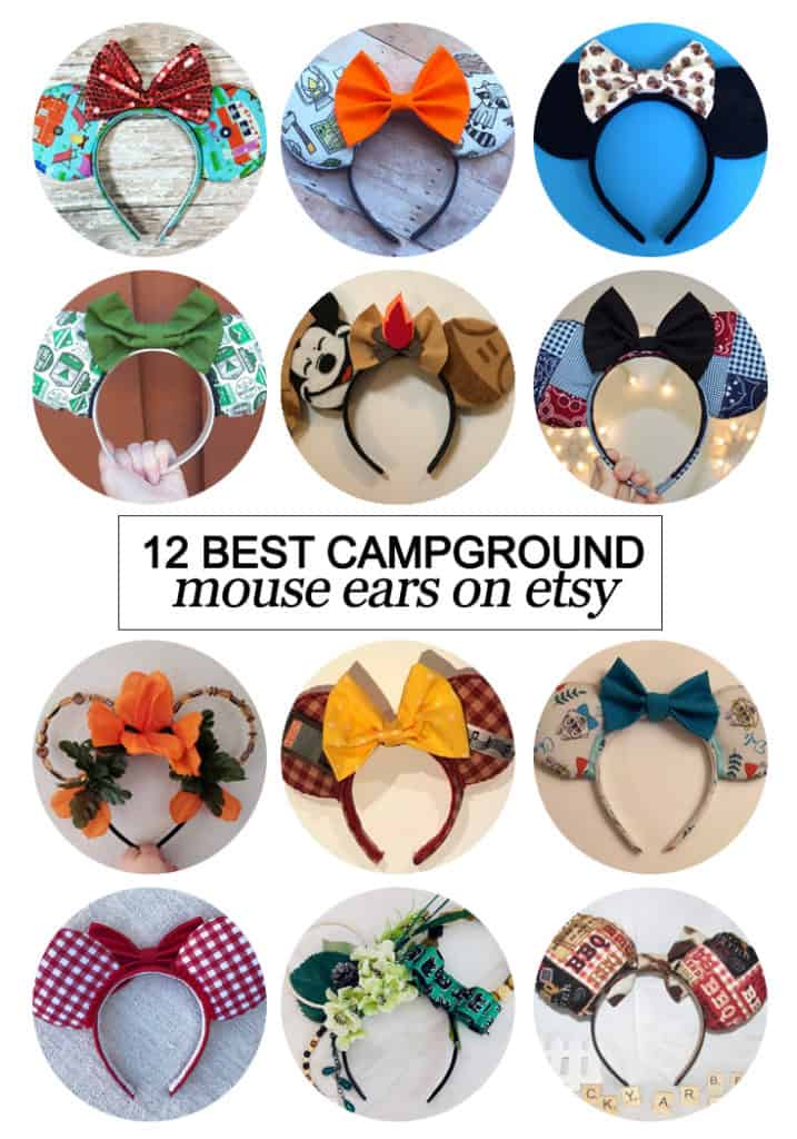 Want to snag some fun custom ears? Here's the 12 best #campground inspired #Mouse ears on #etsy! #fashion #Disney #dcd #tmom #WaltDisneyWorld #Mouseears #handmade