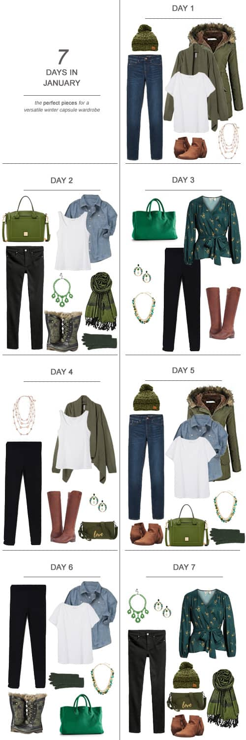 7 Days in January : The Perfect Pieces for a Versatile Winter Capsule Wardrobe #ootd #January #winter #capsulewardrobe #sahm