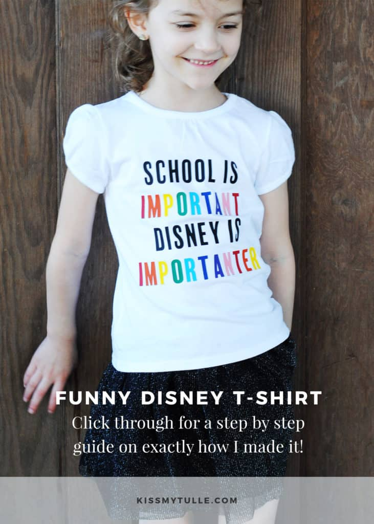 "#DIY this funny ""School is Important. Disney is Importanter."" t-shirt to commemorate your next #Disney trip. Includes step-by-step directions, free file, and supply list for you! #handmade #DisneyShirts #tmom #CricutMade #CDC"
