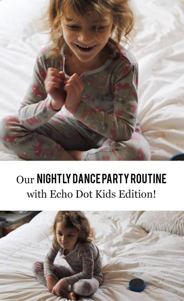 Our evening routine consists of bathtime and having a fun two to three song dance party! After that, Melanie gets to ask Alexa for two jokes. #AmazonKidsandFamily #MC #ad