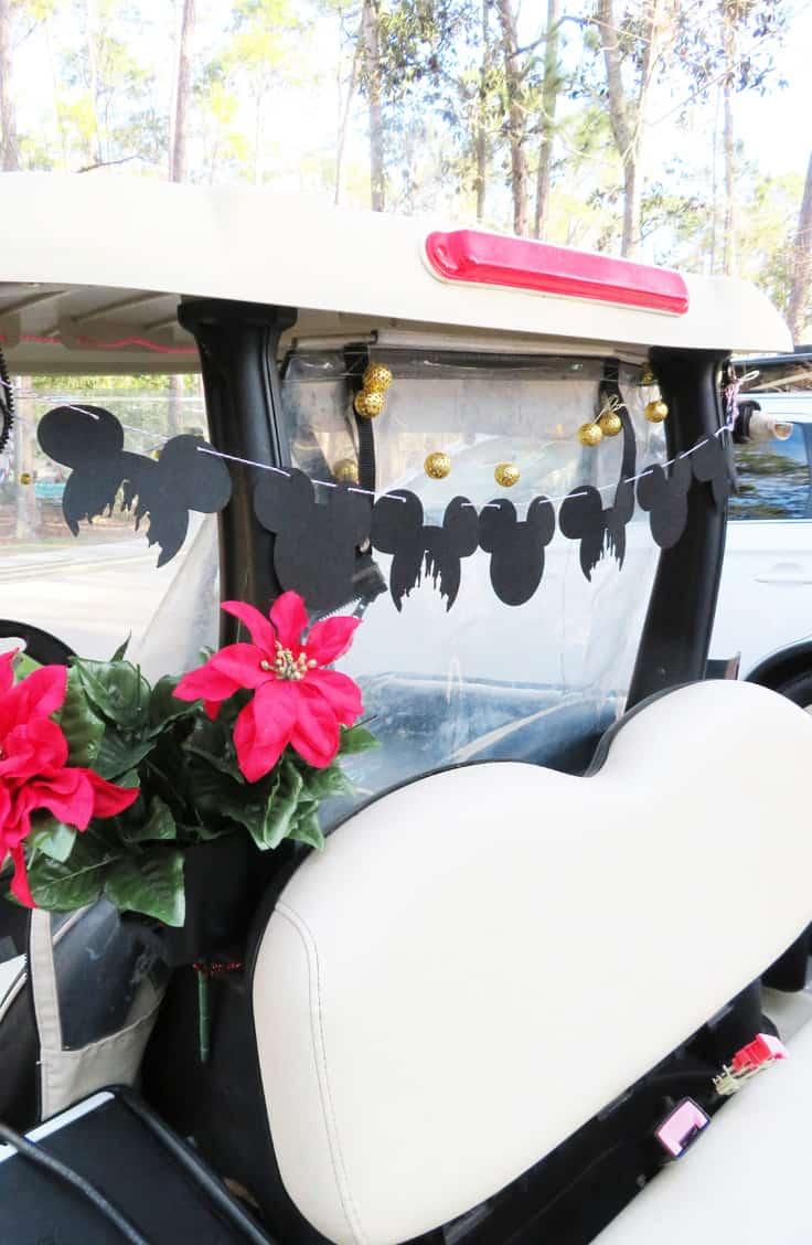 Here's how to #DIY a #MickeyMouse garland for your #FortWilderness golf cart. #Disney #CDC #handmade #WaltDiseyWorld #RVing #camping #CricutMade