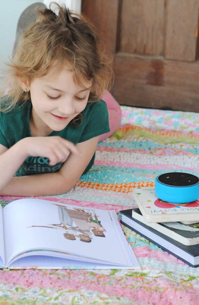 Fellow exhausted parents of the world, allow me to share my very best parenting hack - have Echo Dot Kids Edition read your kids a book! #AD #AmazonKidsandFamily #MC