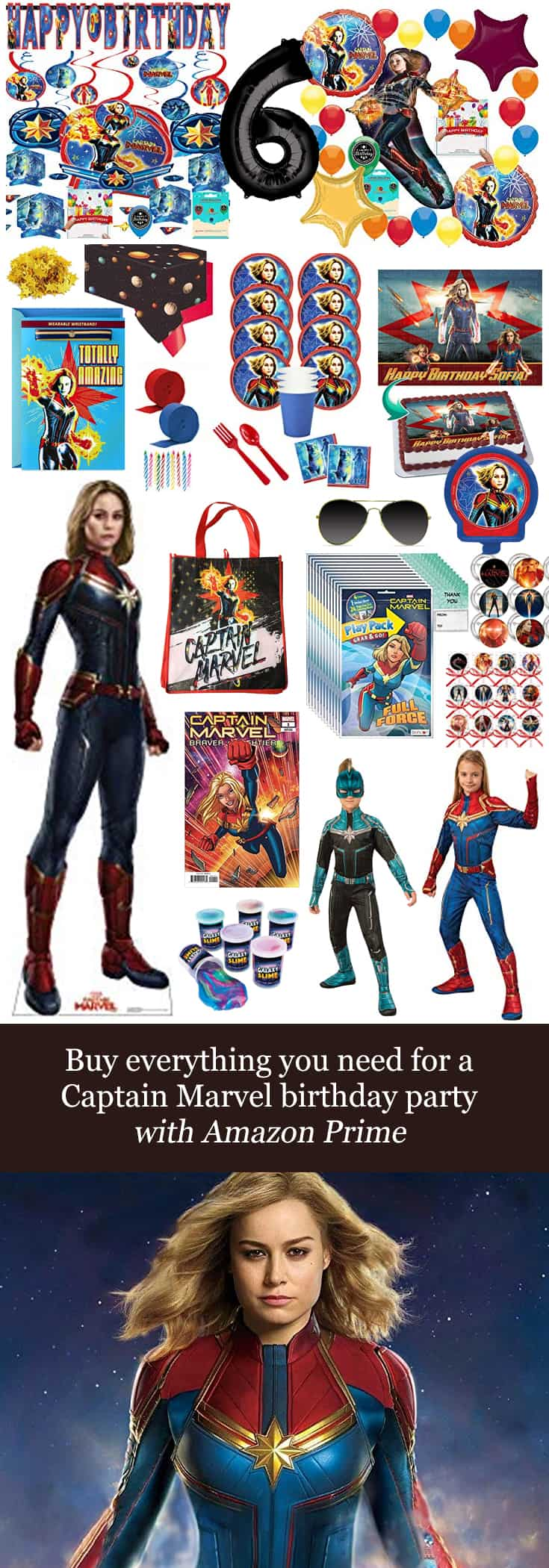 Texas Mom Blogger, Kiss My Tulle, shares how you can buy everything you need for a #CaptainMarvel #birthday #party with #AmazonPrime!