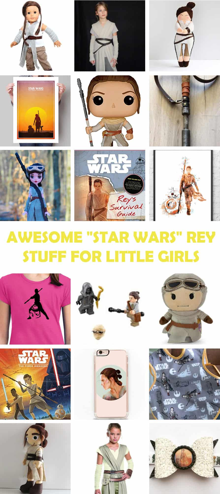 "Texas Mom Blogger, Kiss My Tulle, shares how her daughter loves Rey from ""Star Wars: The Force Awakens"". Here's some awesome ""Star Wars"" Rey stuff for little girls!"