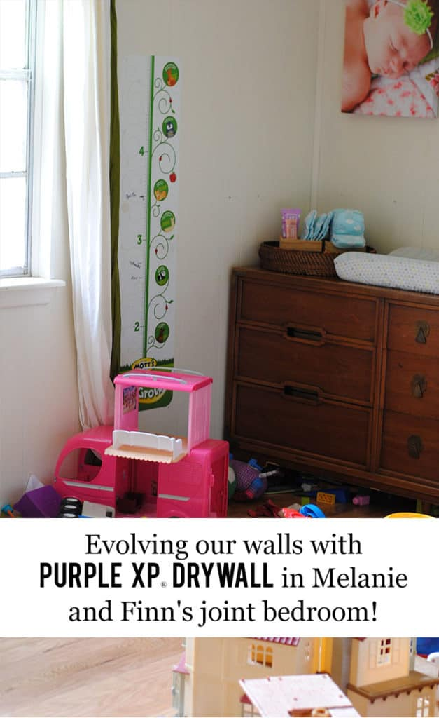 Texas Mom Blogger, Kiss My Tulle, is sharing her inspirations, ideas, and THE BEST soundproof drywall for her kids's joint bedroom. #AskForPURPLE #IC #ad