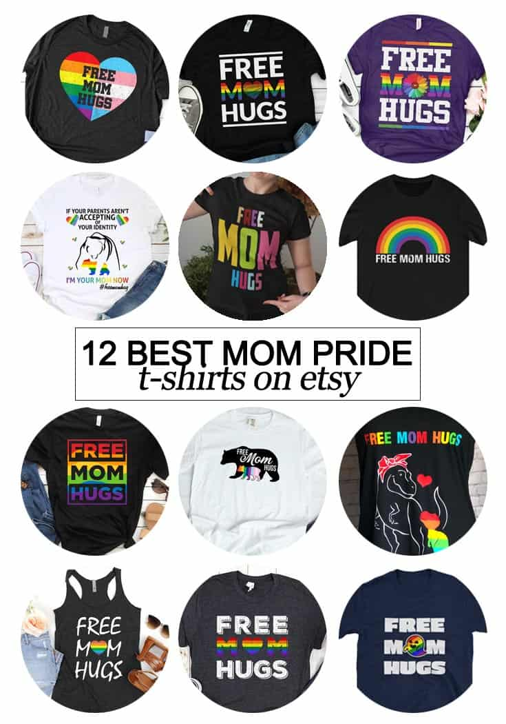 "Texas Mom Blogger, Kiss My Tulle, shares the 12 Best #Pride ""Free Mom Hugs"" Shirts on etsy so you can tell the world that you're on the right side of history. #LGBTQ #freemomhugs"