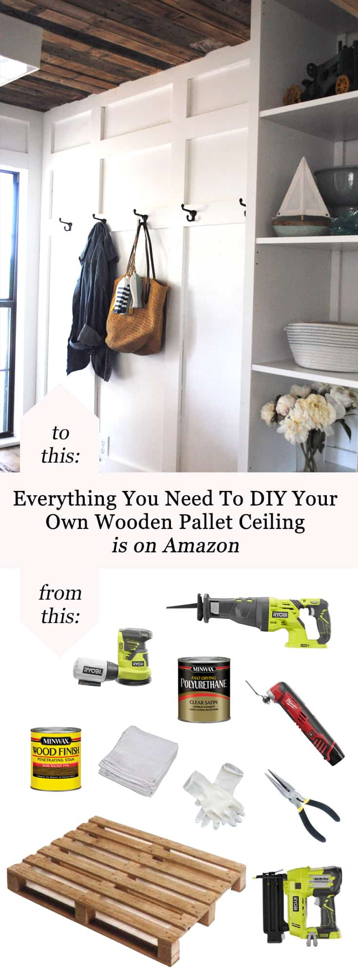 Everything You Need To DIY Your Own Wooden Pallet Ceiling Is On Amazon #homeimprovement #remodel #rustic #farmhouse #fixerupper