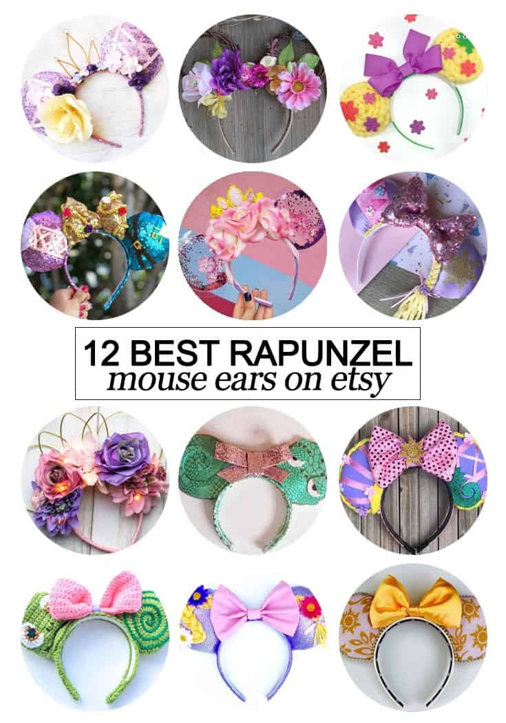 Want to snag some of your own custom ears? Texas Mom Blogger, Kiss My Tulle, is sharing the 12 best #Rapunzel inspired Mouse ears on #etsy!