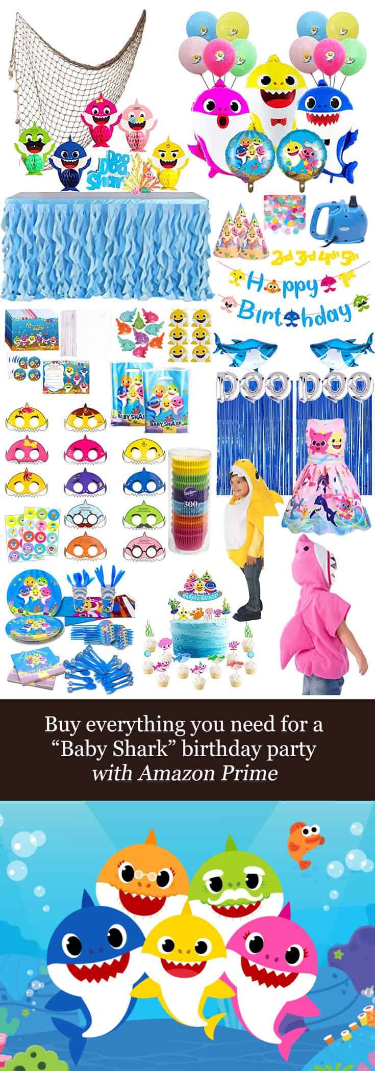 Alaskan Mom Blogger, Kiss My Tulle, shares how you can buy everything you need for a #BabyShark #birthday #party with #AmazonPrime!