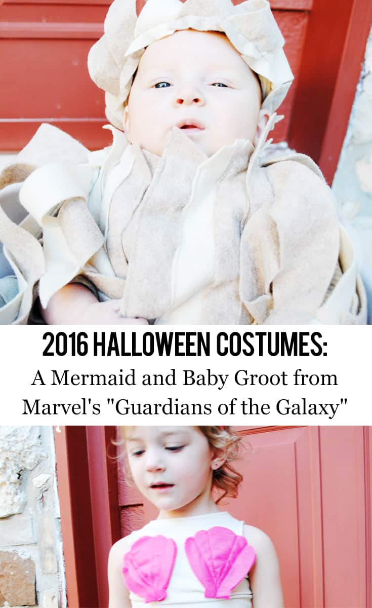 "Texas Mom Blogger, Kiss My Tulle, shares Melanie and Finn's 2016 Halloween costumes: a mermaid and Baby Groot from Marvel's ""Guardians of the Galaxy""!"