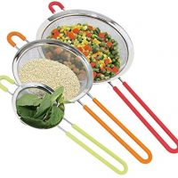 Set of 3 Fine Mesh Stainless Steel Strainers with Silicone Handle